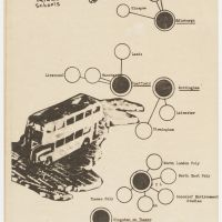 Cedric Price. Drawing of the bus tour circuit indicating participating architecture schools and their potential connections, 1973. AD/AA/Polyark. Cedric Price Fund, CCA. © Peter Murray.