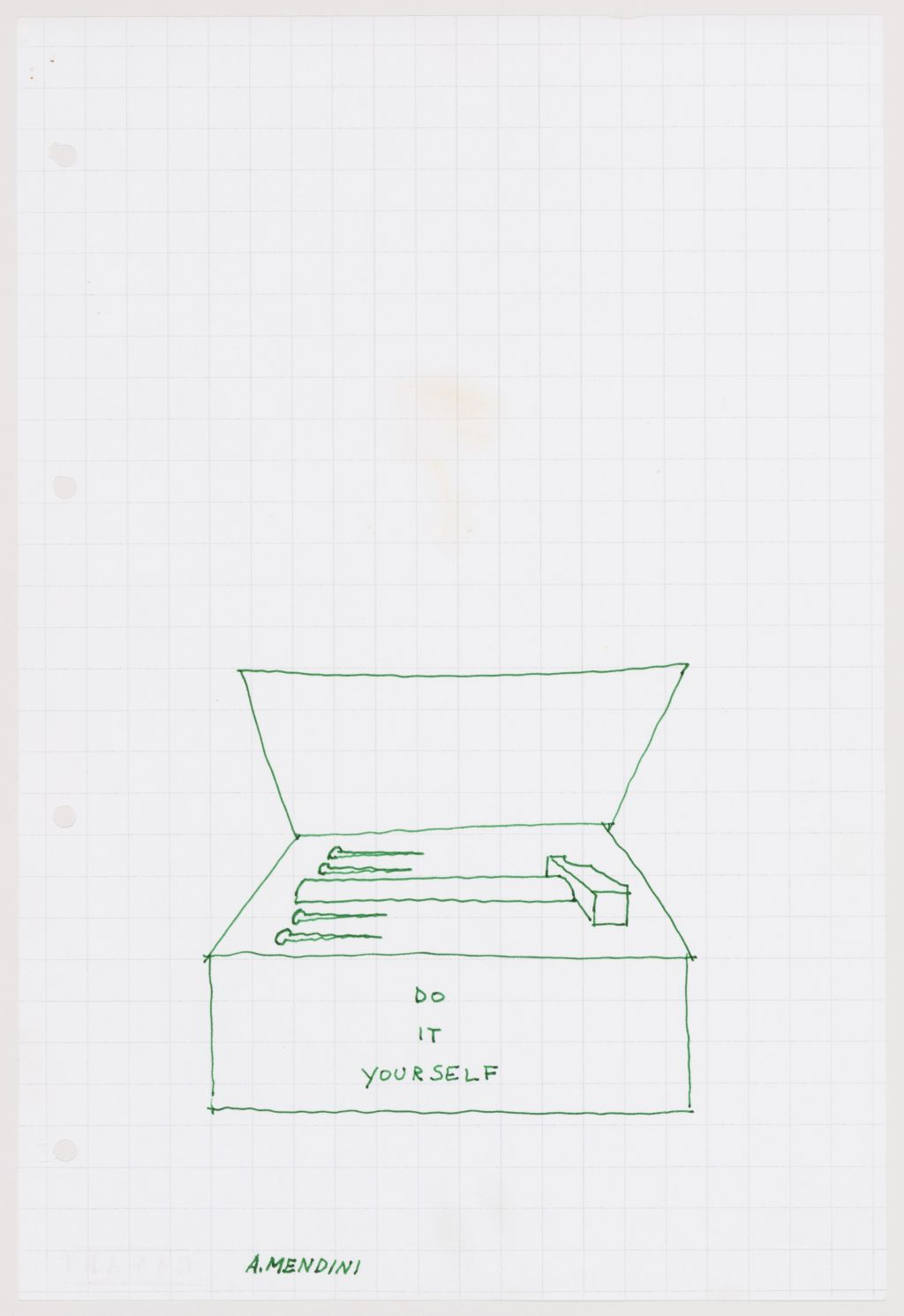 "Alessandro Mendini. An improvised drawing (""D.I.Y. tool box"") made at the Sambuca Seminar, 1974. Archivio Piero Brombin e Valerio Tridenti © Alessandro Mendini."
